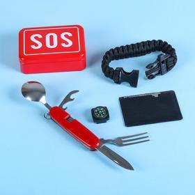 Набор для выживания 4в1 (паркорд, карта выживания, столовые приборы, компас) Ош