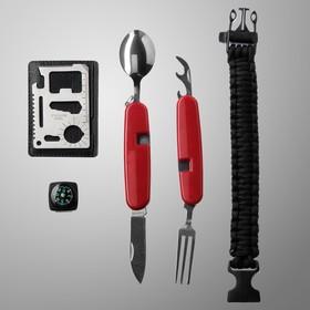 Набор для выживания 4в1 (нож швейцарский, карта выживания, паракорд, компас) Ош