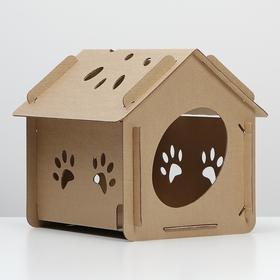 Домик для кошки «Оскар» бурый, 400х305х390