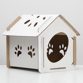 Домик для кошки «Оскар» белый, 400х305х390