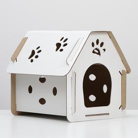 Домик для кошки «Кристофер» белый, 400х305х390