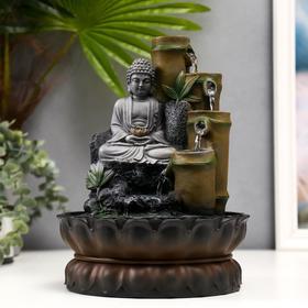 """Фонтан настольный от сети """"Серый будда и фонтан из бамбука"""" 28х20,5х20,5 см"""