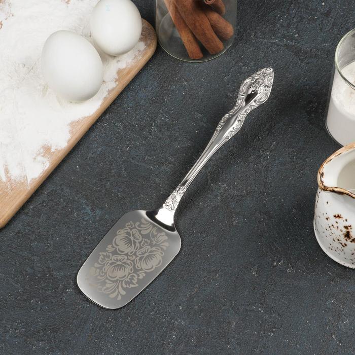 """Лопатка для пирожного 22 см """"Тройка"""", толщина 2,5 мм, художественая роспись"""