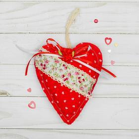 Мягкая игрушка-подвеска «Сердце», с цветочком, виды МИКС