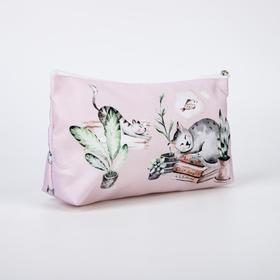 A simple cosmetic bag, 23*7*13, otd without zipper, without lining, Cozy cat