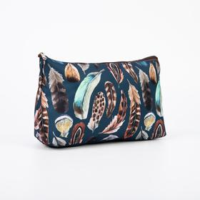 A simple cosmetic bag, 23*7*13, otd without zipper, without lining, feathers