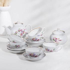 Сервиз чайный «Рубин. Багульник», 14 предметов, отводка золотом