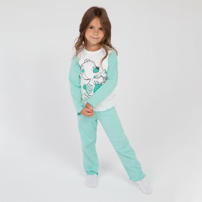 Пижама для девочки, цвет белый/мятный, рост 104 см - фото 76832686