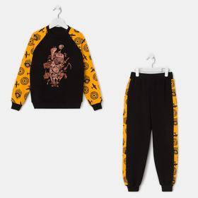Комплект для мальчика, цвет чёрный/оранжевый, рост 98-104 см