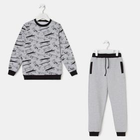 Комплект для мальчика, цвет серый меланж, рост 98-104 см
