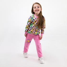 Комплект для девочки, цвет розовый/сиреневый/жёлтый, рост 104-110 см