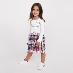 Платье для девочки, цвет молочный/серый/красный, рост 116-122 см