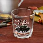 """Whiskey glass """"Happy Defender of the Fatherland Day"""" tank and soldiers"""