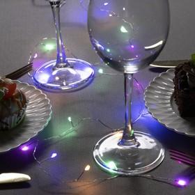 """Гирлянда """"Мишура"""" 1 м роса, IP20, серебристая нить, 20 LED, свечение мульти, фиксинг, 2 х CR2032"""