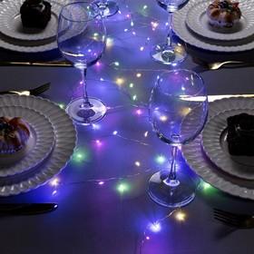 """Гирлянда """"Мишура"""" 2 м роса, IP20, серебристая нить, 50 LED, свечение мульти, фиксинг, 2 х CR2032"""