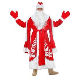 """Карнавальный костюм """"Дед Мороз Боярский с узором"""", шапка, шуба, варежки, борода, лысина р. 48-50"""
