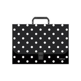 Папка-портфель А4, 1 отделение, 800 мкм, ErichKrause Dots in Black, до 350 листов, с рисунком
