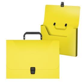 Папка-портфель А4, 1 отделение, 700 мкм, ErichKrause Diagonal Neon, до 350 листов, жёлтая