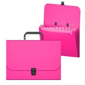 Папка-портфель А4, 12 отделений, 700 мкм, ErichKrause Matt Neon, до 350 листов, розовая