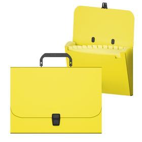 Папка-портфель А4, 12 отделений, 700 мкм, ErichKrause Matt Neon, до 350 листов, жёлтая
