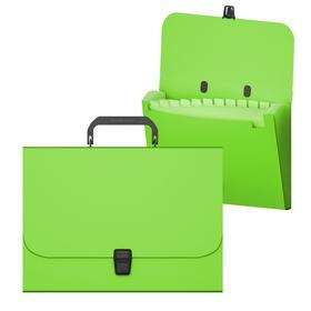 Папка-портфель А4, 12 отделений, 700 мкм, ErichKrause Matt Neon, до 350 листов, зелёная