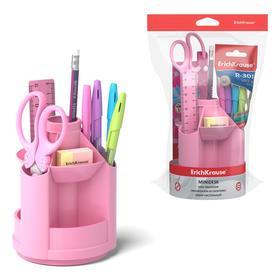 """Набор настольный 8 предметов ErichKrause """"Mini Desk Pastel"""", вращающийся, розовый"""