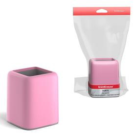 Подставка-стакан ErichKrause Forte 10,5 х 8 х 8 см, пастельная розовая с серой вставкой