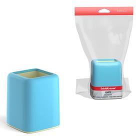 Подставка-стакан ErichKrause Forte, 10,5 х 8 х 8 см, пастельная голубая с желтой вставкой