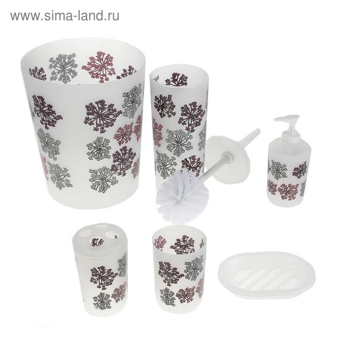 """Набор для ванной """"Одуванчик"""", 6 предметов: ведро, ерш, мыльница, дозатор, 2 стакана"""