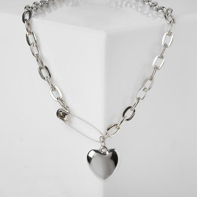 "Pendant ""Chain"" heart on a pin, color silver, 50cm"