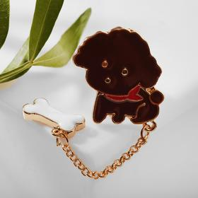 "Badge ""Doggie"" poodle with bone, colored in gold"