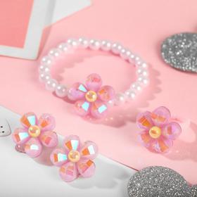 "A set of children's ""Vibracula"" 3 pre-TA: clip-on earrings, bracelet, ring, flower, MIX color"