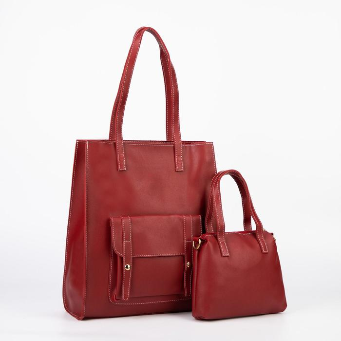 Сумка женская, отдел на молнии, наружный карман, длинный ремень, цвет бордовый - фото 777864