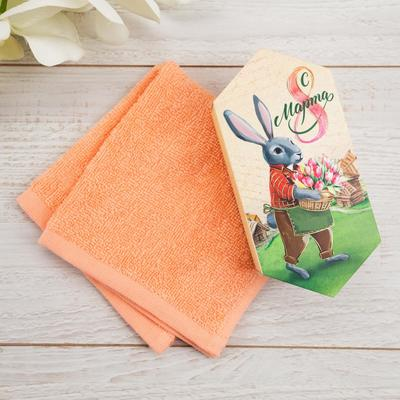 """Terry towel """"From March 8"""" 30x30 cm, 100 HL 340g / m2"""