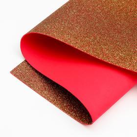 Foamiran glitter 1.8 mm (Red-yellow) 60x70 cm