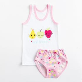 Комплект (майка, трусы) для девочки, цвет розовый, рост 104 см