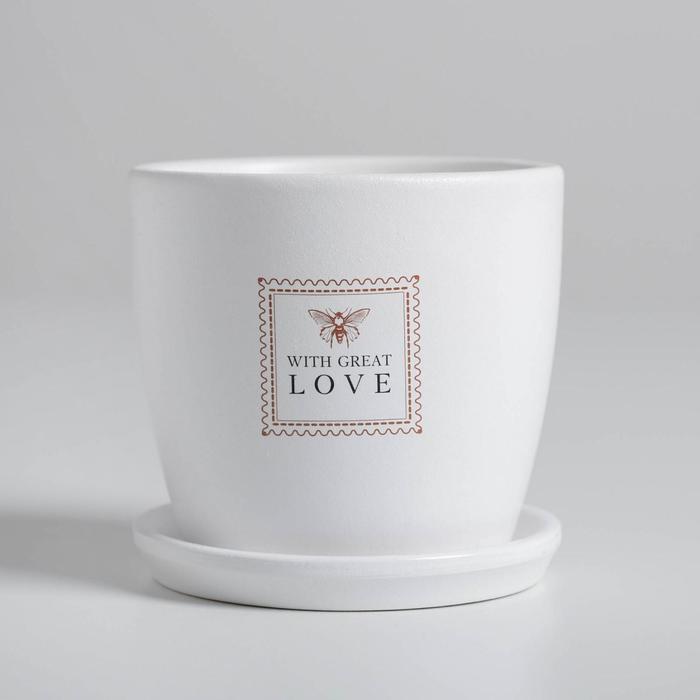 "Горшок для цветов ""With great love"", 10 х 10 см, 0.5 л, глянец - фото 859685"