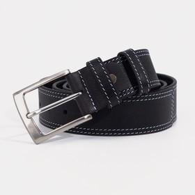 Ремень мужской, ширина 4 см, пряжка металл, цвет чёрный