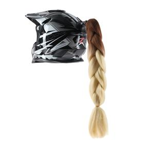 Braid on motorcycle helmet, suction Cup mount, 60 cm, black and white
