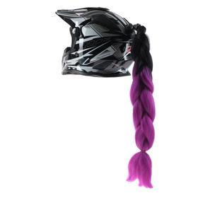 Коса на мотошлем, крепление присоской, 60 см, черно-фиолетовый