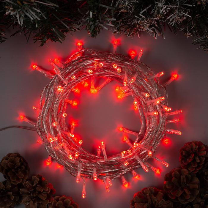 """Гирлянда """"Нить"""" 10 м , IP44, УМС, прозрачная нить, 100 LED, свечение красное, 8 режимов, 24 В - фото 7319452"""