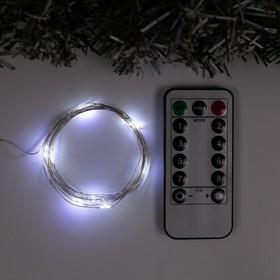 """Garland """"Thread"""" 5 m dew, IP20, silver thread, 50 LED, white glow, 8 modes, USB"""