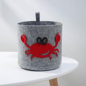 Корзина для хранения Eva Funny «Краб», 17×17×16 см, цвет светло-серый