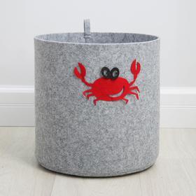 Корзина для хранения Eva Funny «Краб», 30×30×30 см, цвет светло-серый