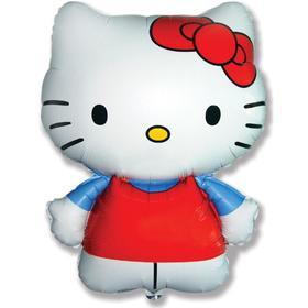 """Шар фольгированный 26"""" фигура """"Hello Kitty. Котенок с бантиком"""" голубой, 1 шт. в упак."""
