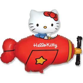 """Шар фольгированный 36"""" фигура """"Hello Kitty. Котенок в самолете""""красный, в упак."""