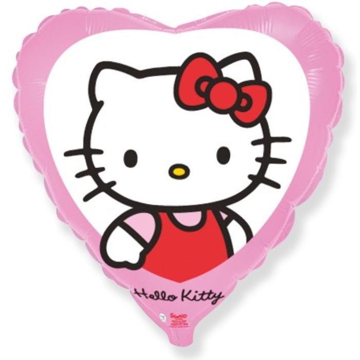 """Шар фольгированный 18"""" Hello Kitty """"Котёнок с бантиком"""", сердце, 1 шт. в упаковке, розовый - фото 7639812"""