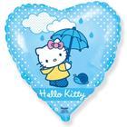 """Шар фольгированный 18"""" Hello Kitty """"Котёнок с зонтиком"""", сердце, 1 шт. в упакаковке, голубой - фото 7639814"""