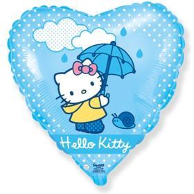 """Шар фольгированный 18"""" сердце """"Hello Kitty. Котенок с зонтиком"""" голубой, 1 шт. в упак."""