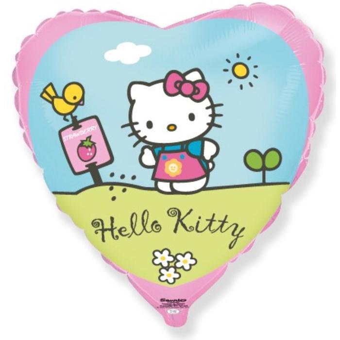 """Шар фольгированный 18"""" Hello Kitty """"Котёнок в саду"""", сердце, 1 шт. в упаковке, розовый - фото 7639817"""